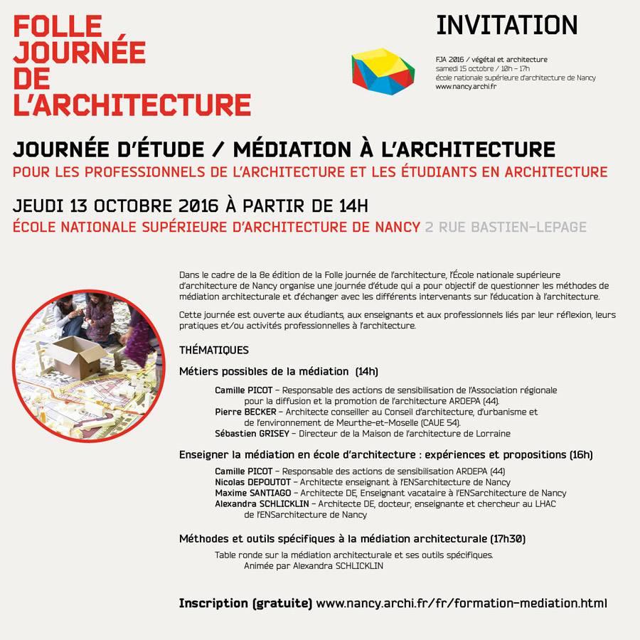 Info journ e d tude m diation l architecture 13 10 16 - Journee de l architecture ...